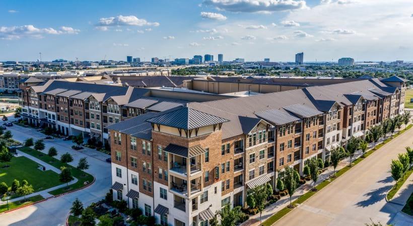 Drone photo of Verus apartments of Circa Verus Frisco near Stonebriar Mall