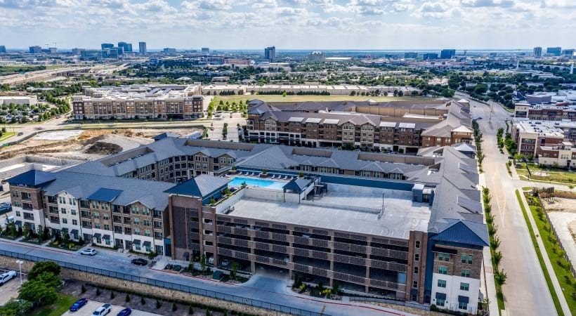 Aerial view of Circa Verus Frisco apartments in Frisco, TX and nearby hotspots like Stonebriar Mall, IKEA, and Legacy West