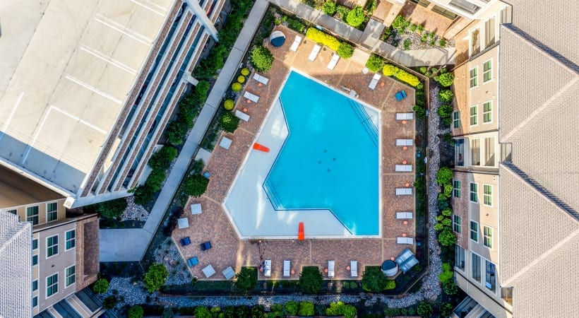 Aerial view of our resort-style pool at Circa Verus Frisco