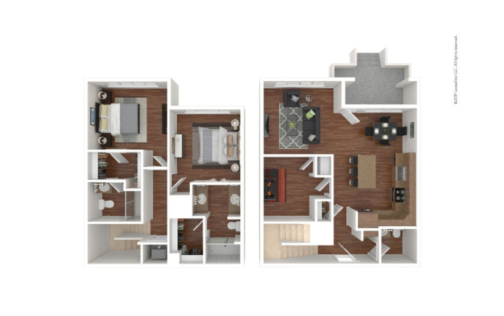 Washington 2 bedroom 2 bath 1480 square feet