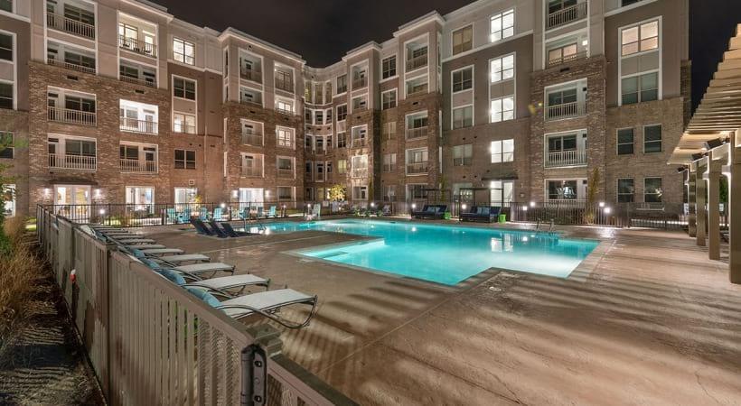 Resort-Style Pool at Night