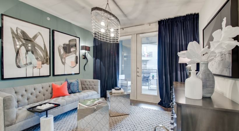 Spacious modern apartment living room at our Downtown Dallas, TX apartments for rent