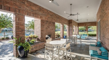 Outdoor lounge at apartments in Clear Lake, TX