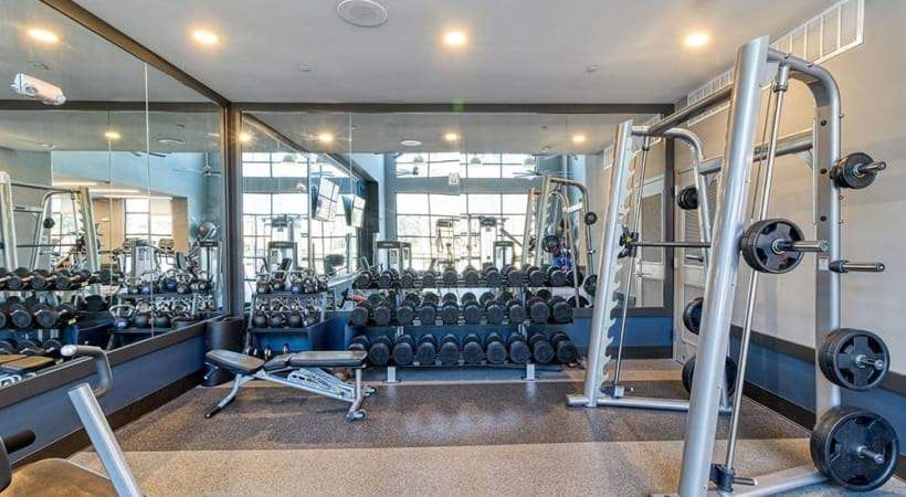 Weight Section At Our Brookhaven Apartment Fitness Center