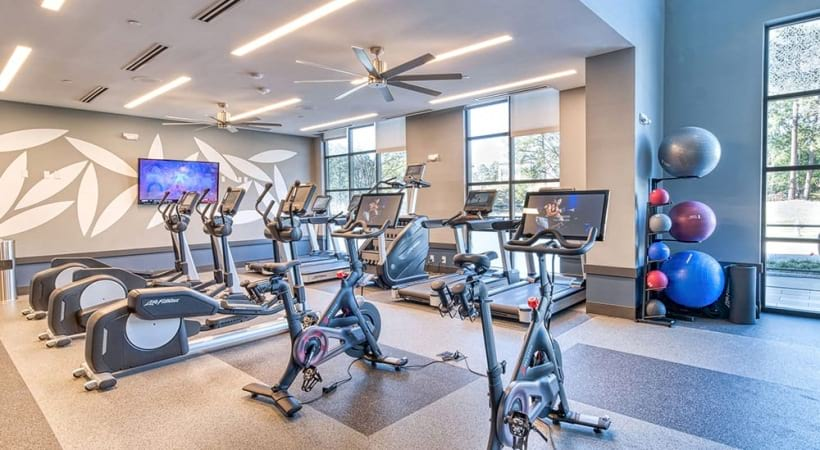 Fitness Center With Peloton Bikes At The Apartments In Brookhaven, GA