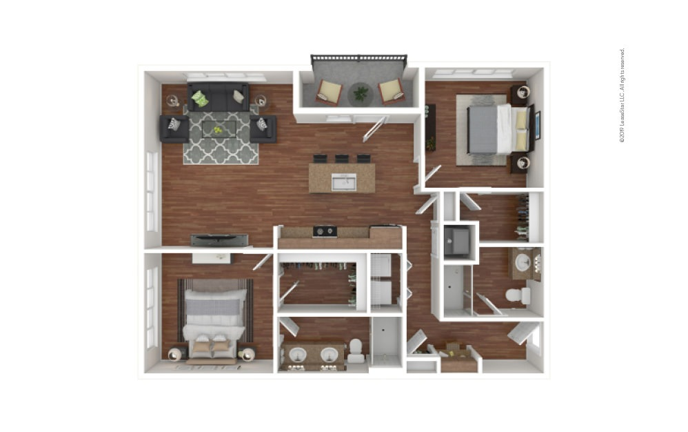 Morris 2 bedroom 2 bath 1174 - 1225 square feet