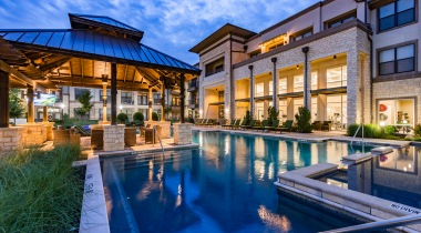 Resort-style pool at luxury apartments in Euless, TX