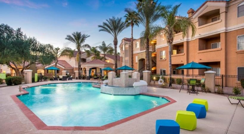 Poolside Lounge at Our Luxury Apartments Near Desert Ridge