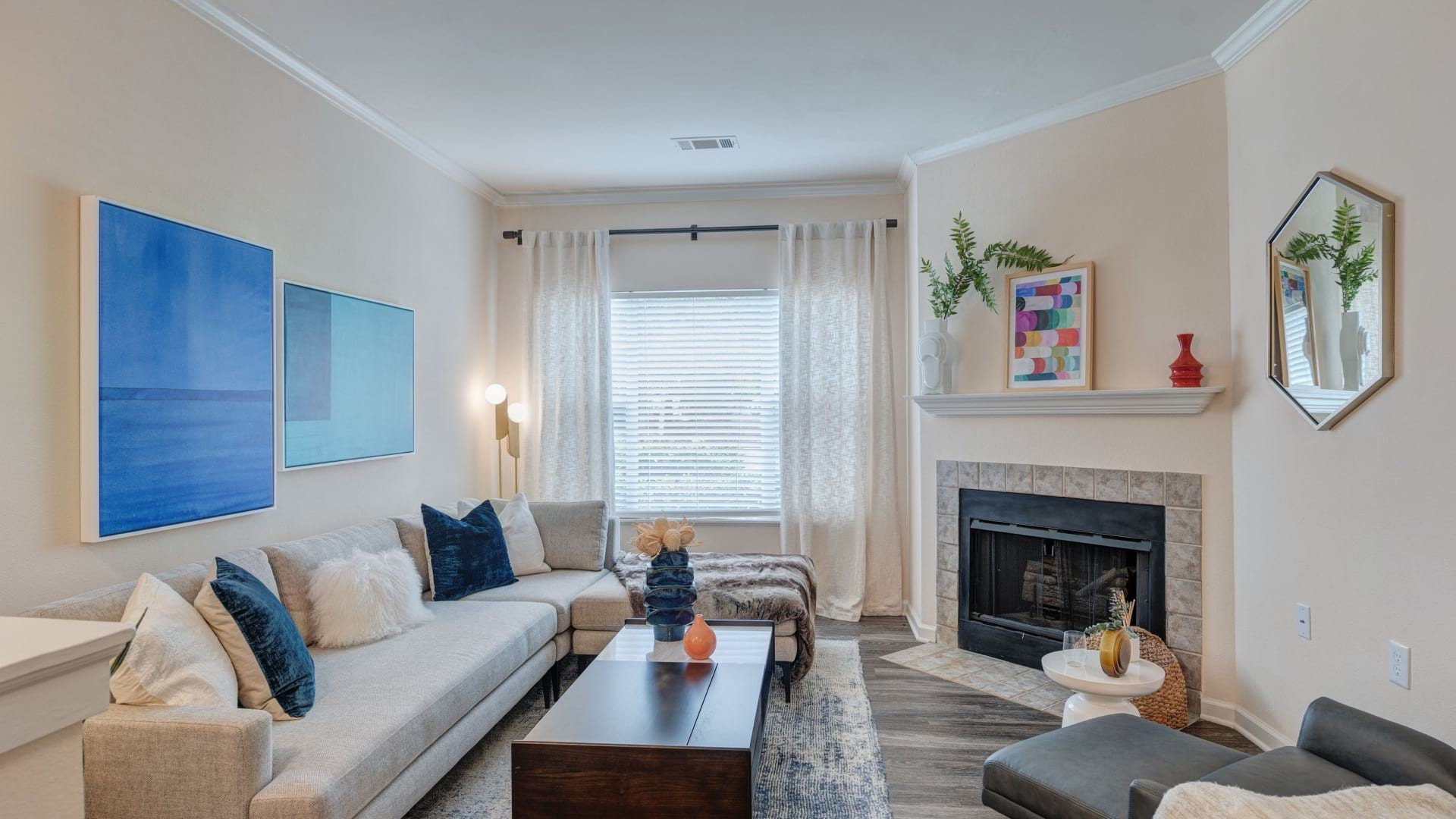 Luxury Apartment Living Room With Fireplace At Our Preston Apartments In Cary, NC