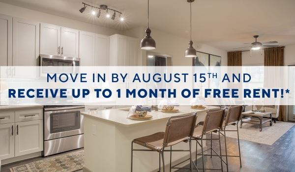 Move in by August 15th and receive up to one month of free rent!*