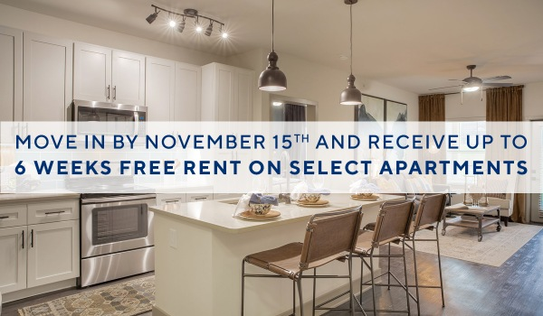 Move in by November 15th and receive up to 6 weeks of free rent on select apartments!*