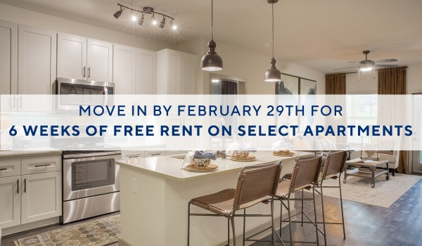 Move in by February 29th and receive up to 6 weeks of free rent on select apartments!*