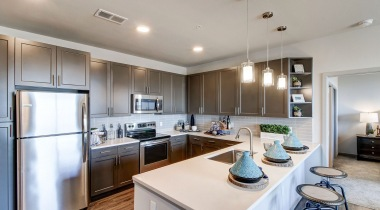 Kitchen with Expansive Islands at Our Spacious Apartments in Green Valley Ranch, CO