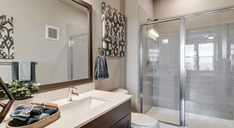Walk-In, Glass-Door Showers with Rainfall Showerheads at Cortland at Green Valley Apartments