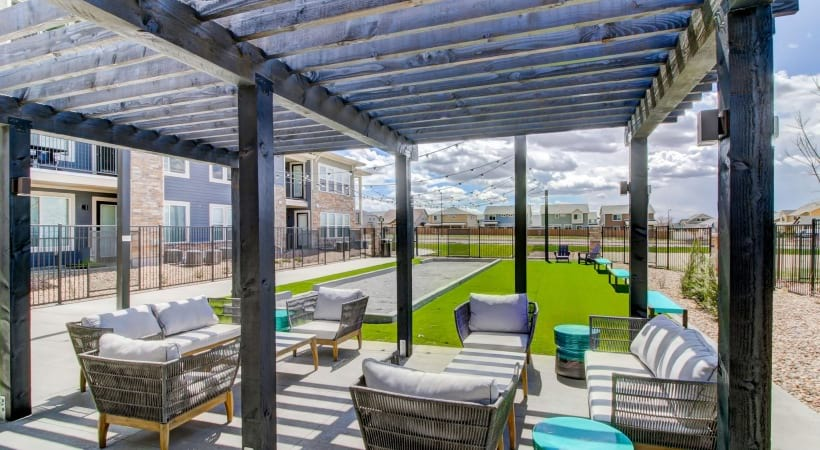 Outdoor Entertainment Area with Bocce Ball and Games at Cortland at Green Valley Apartments