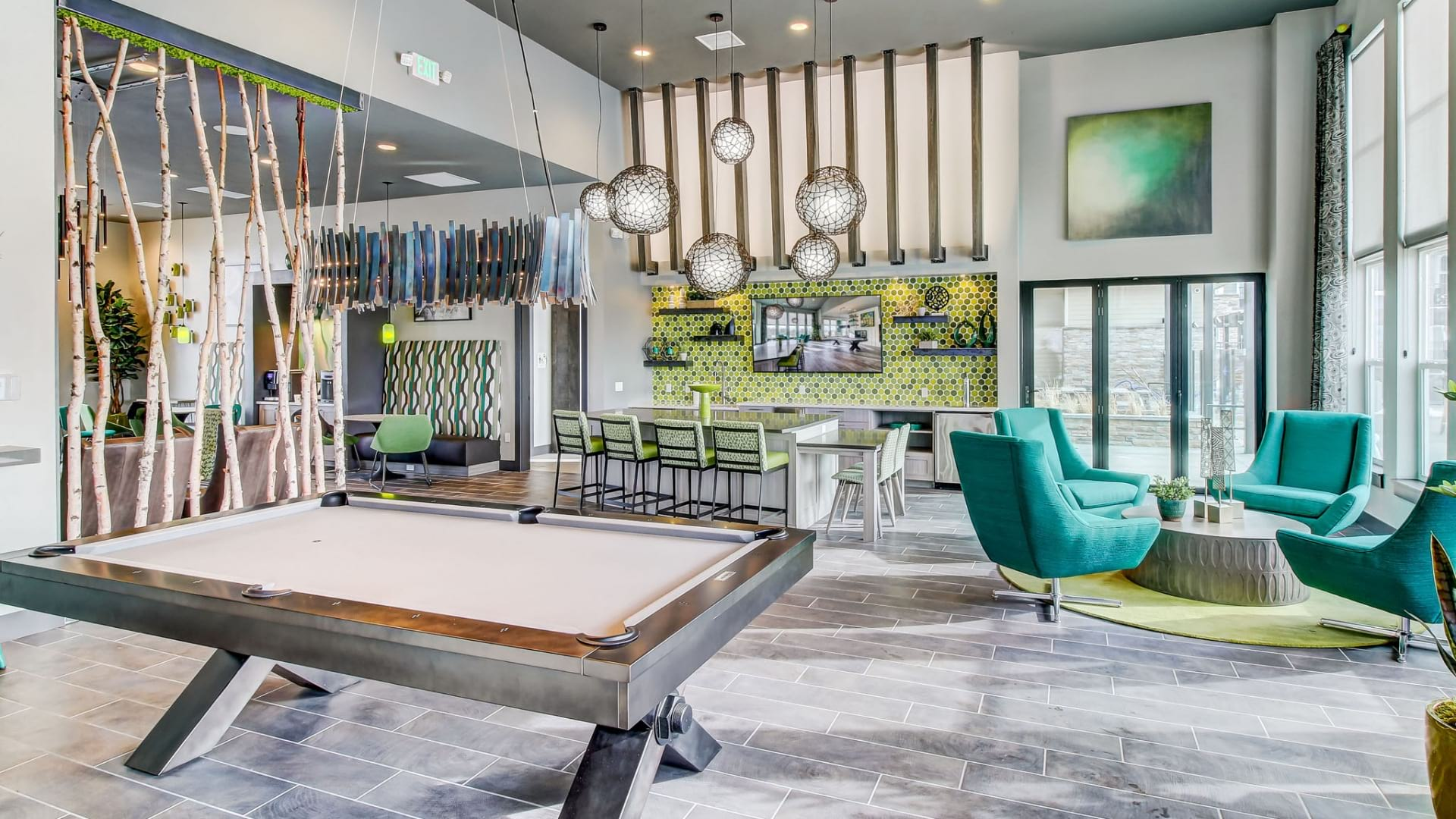 Resident Clubhouse with Games at Cortland at Green Valley Apartments