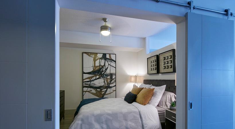 Bedroom with Barn Door | Deerfield Station