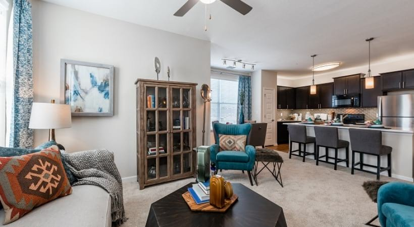 Spacious living room at 		apartment complexes in Orlando