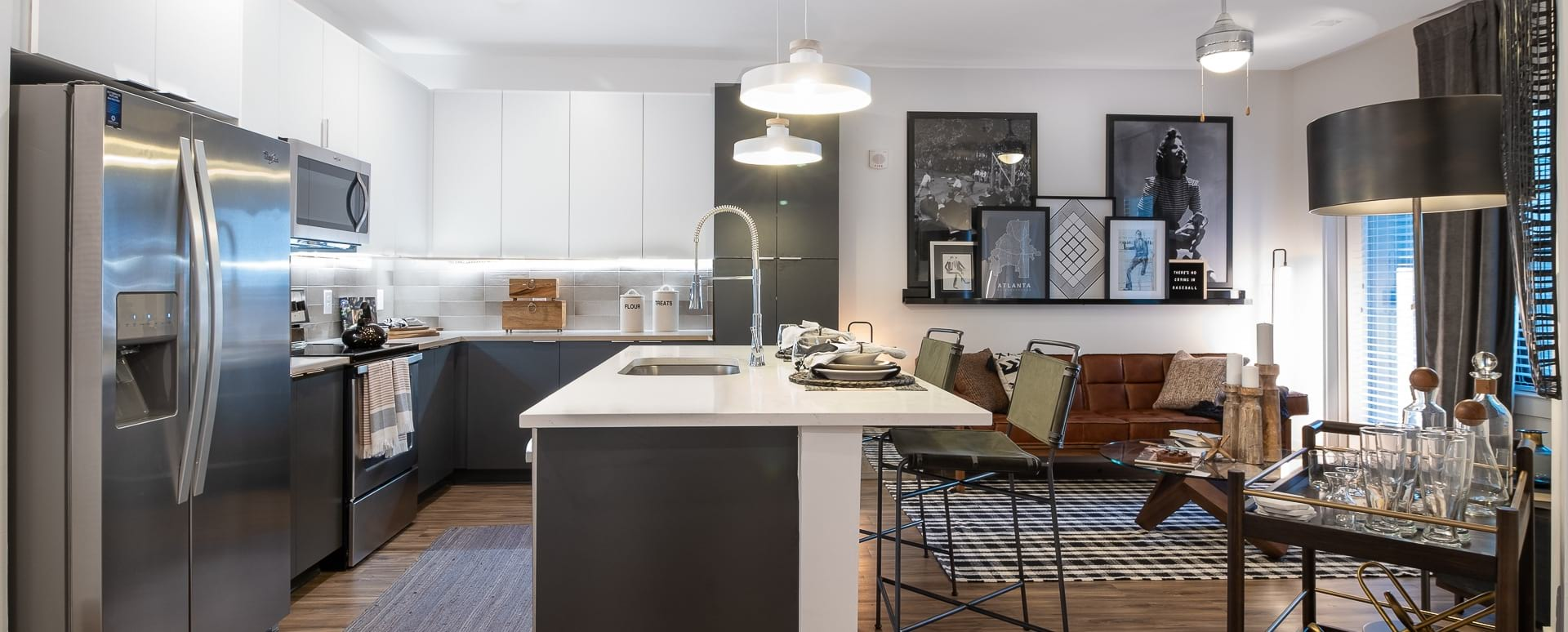 Apartment Floor Plan with Kitchen Island and Wood-Style Flooring