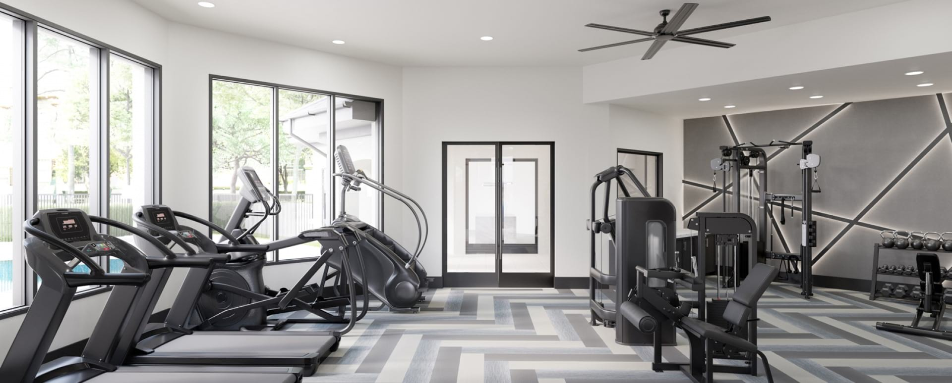 Allen apartment gym with updated equipment