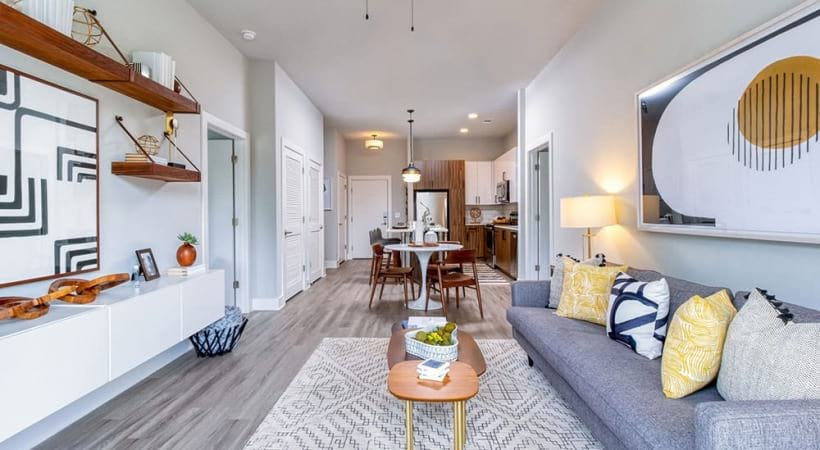 Modern Living Room Space With Ceiling Fans At Our Brookhaven Apartments