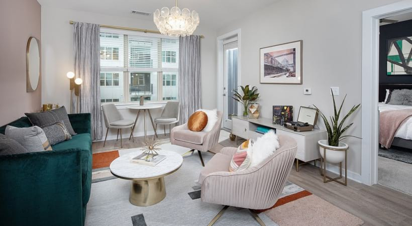 Upscale Living Room With Modern Decor At Our Apartments In North Druid Hills, Atlanta, GA
