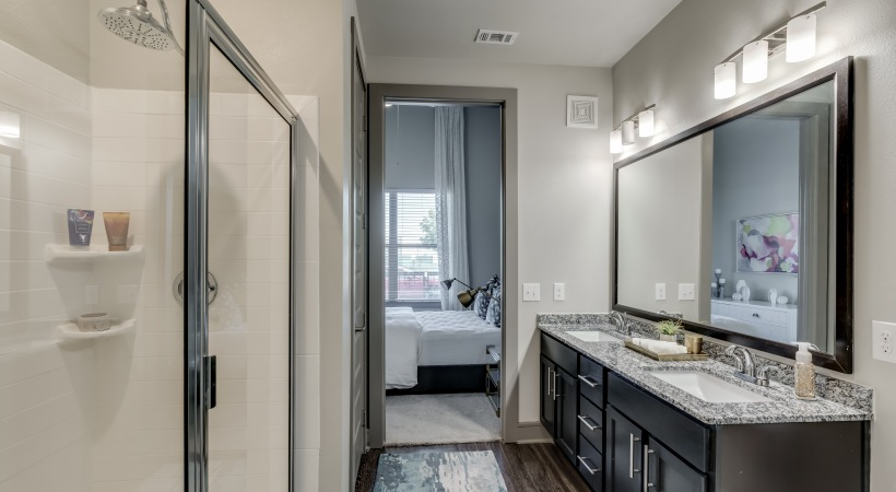 Our Frisco apartment with a walk-in shower