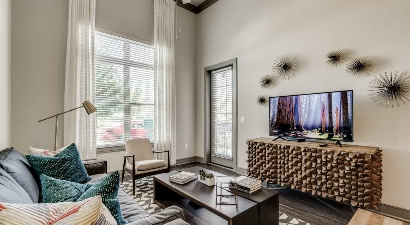 Spacious living room with cozy home decor at Circa Verus Frisco apartments