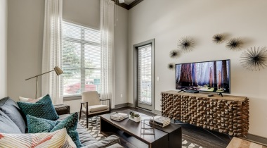 Spacious living room with cozy home decor at Circa Verus Frisco apartments