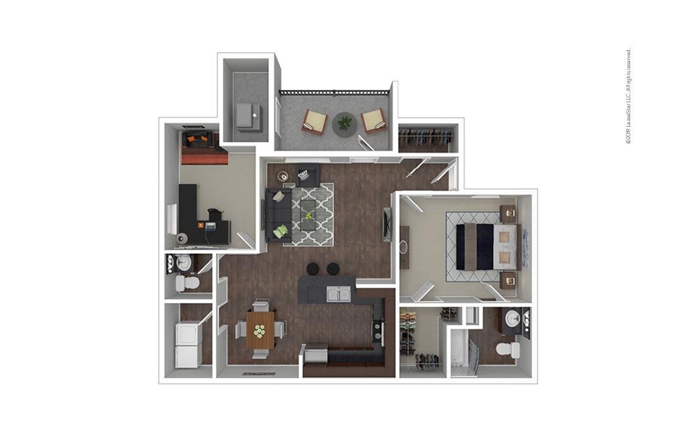 The Paris 1 bedroom 1.5 bath 1046 square feet