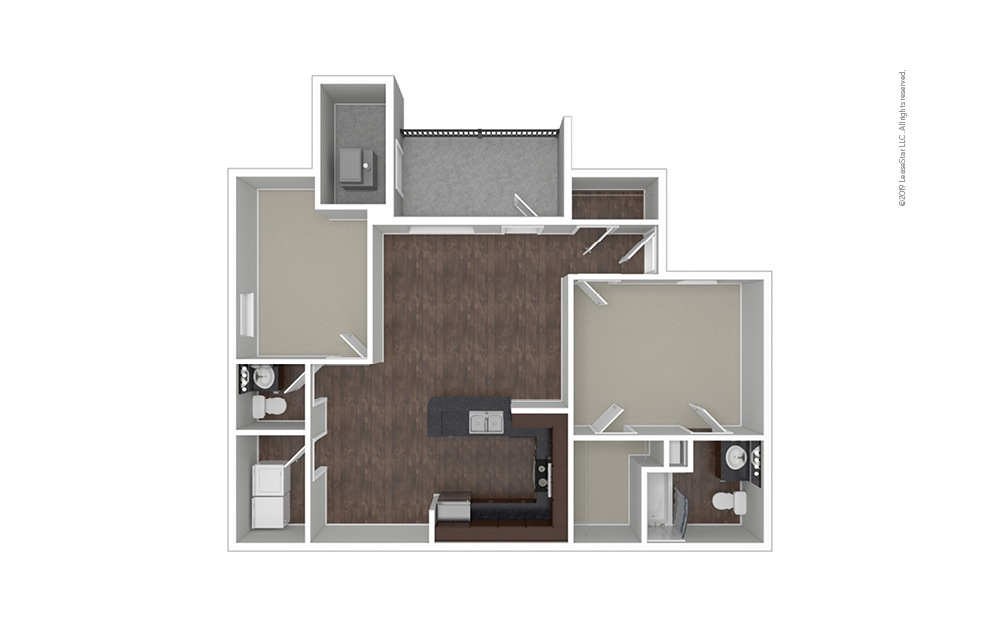 The Paris 1 bedroom 1.5 bath 1046 square feet (1)