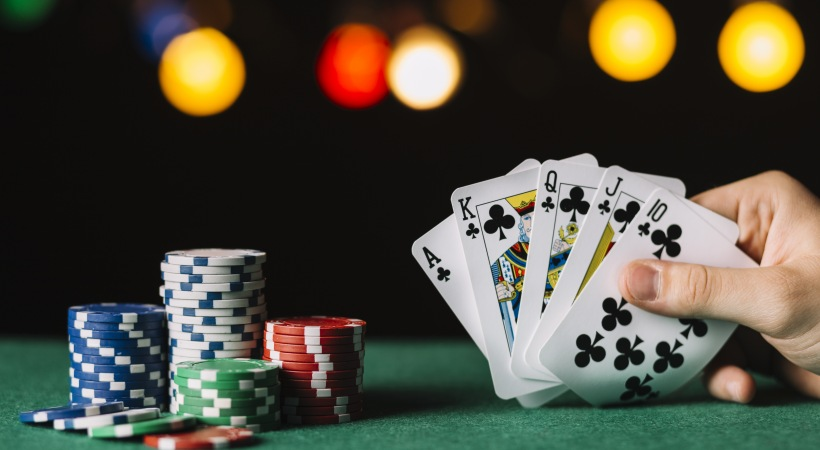 Poker table with planned poker nights at our active adult apartments in Grand Prairie, TX