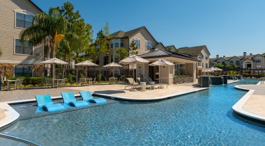 Resort style pool at apartments in Houston, TX