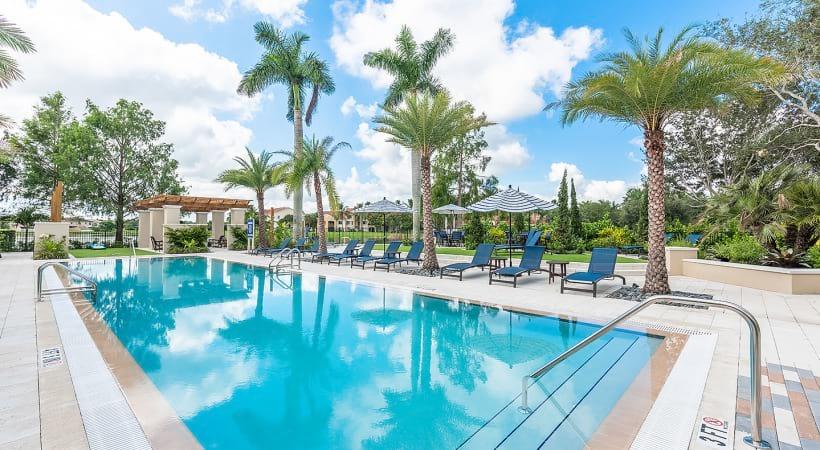 Spacious apartment pool at Cortland Portofino Place