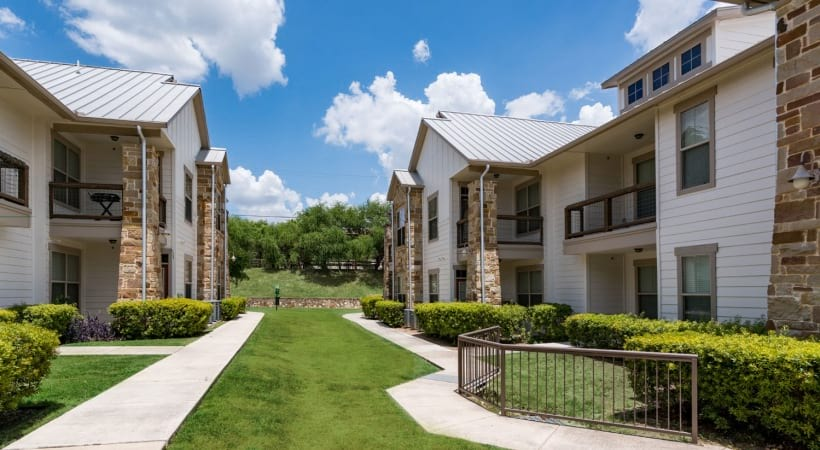 Walking trails at our gated apartments near USAA
