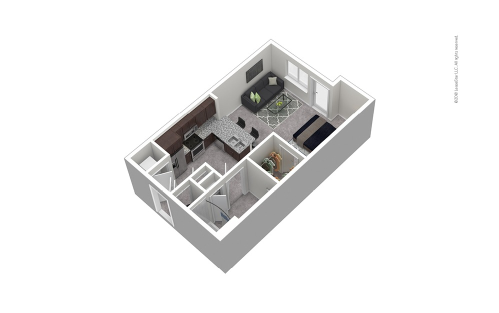 S1 Studio 1 Bath Furnished Floorplan