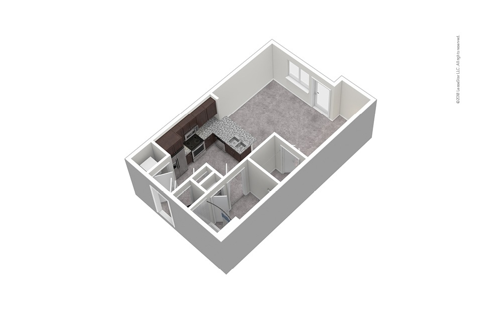S1 Studio 1 Bath Unfurnished Floorplan