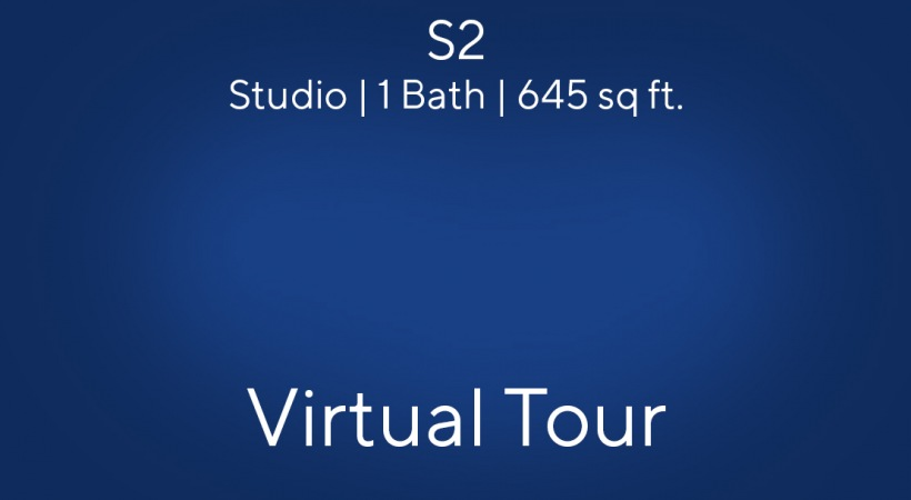S2 Floor Plan, Studio/1Bath, 645 sq ft