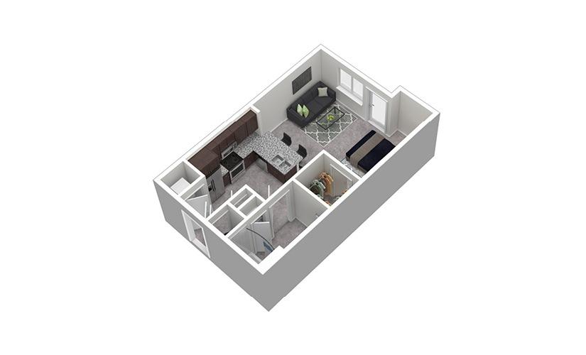 S2 Studio 1 Bath Floorplan
