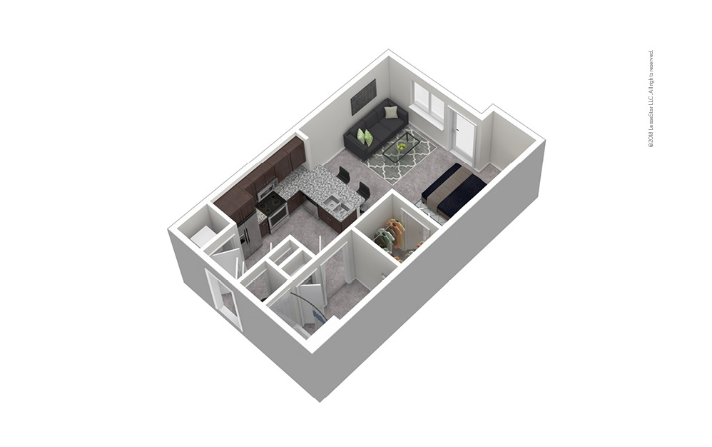 S2 Studio 1 Bath Furnished Floorplan