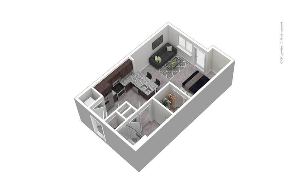 S3 Studio 1 Bath Furnished Floorplan