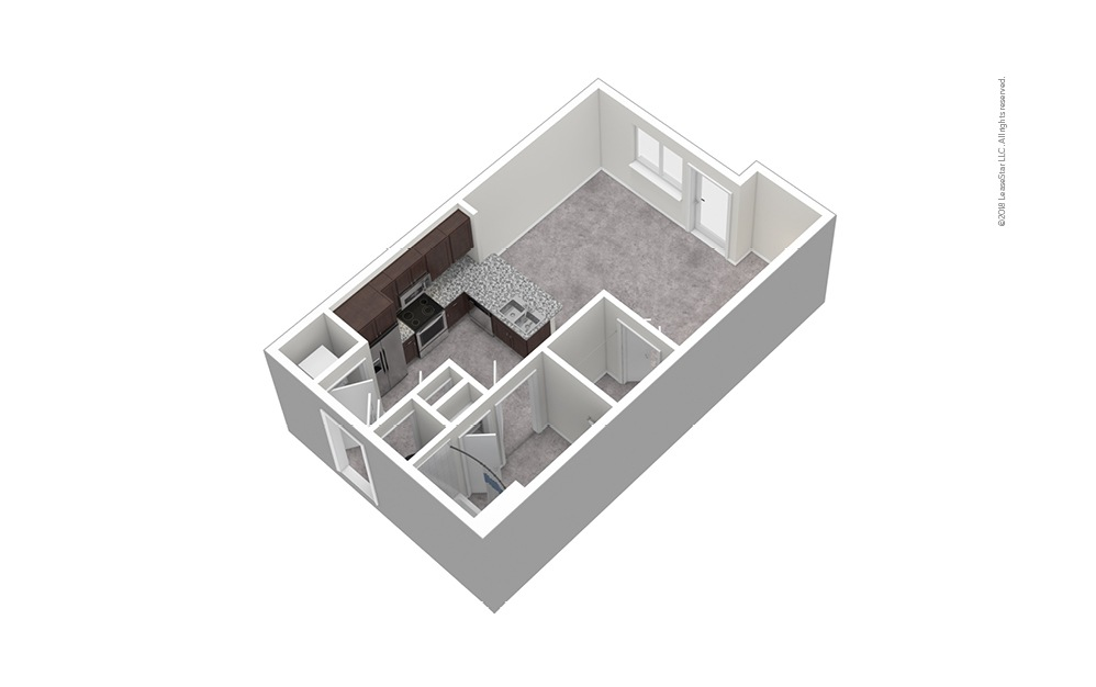 S3 Studio 1 Bath Unfurnished Floorplan