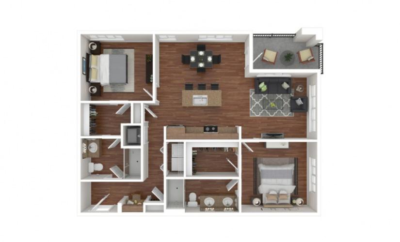 Kinney 2 bedroom 2 bath 1155 - 1163 square feet