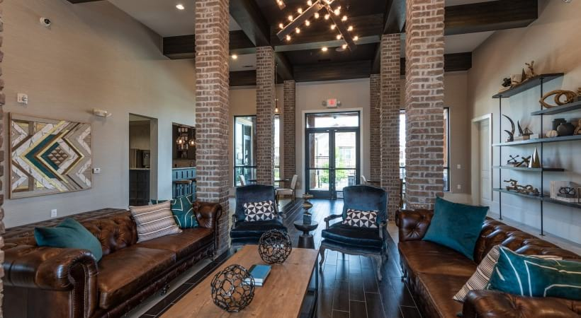 Resident lounge at apartments in Prosper, TX