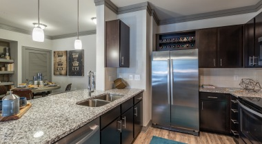 Cortland Preston North apartment kitchen with stainless steel appliances