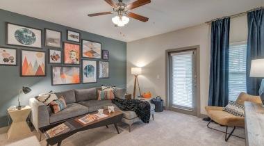 Modern Living Room With Nine-Foot Ceilings At Cortland Belgate