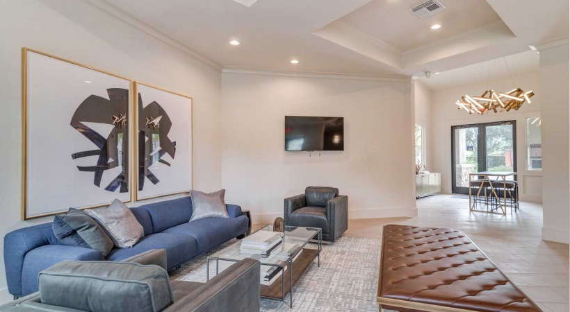 Valley Ranch apartments leasing office with modern furniture