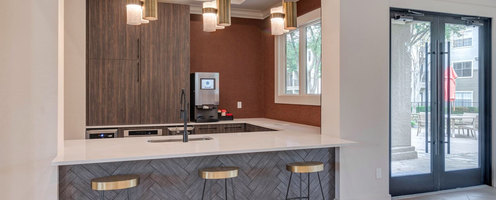 Cortland at Valley Ranch's resident lounge with party-ready kitchen