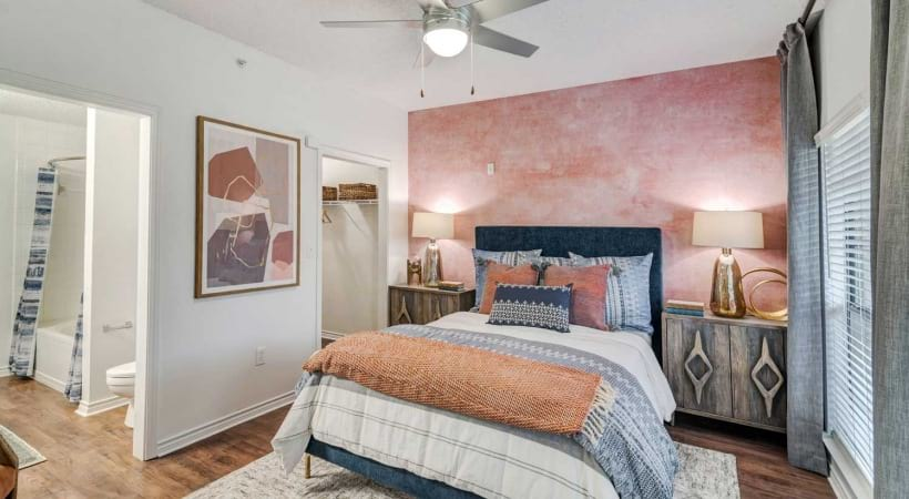 Upscale 1, 2, and 3 bedroom Irving apartments for rent with ceiling fans and wood-style flooring
