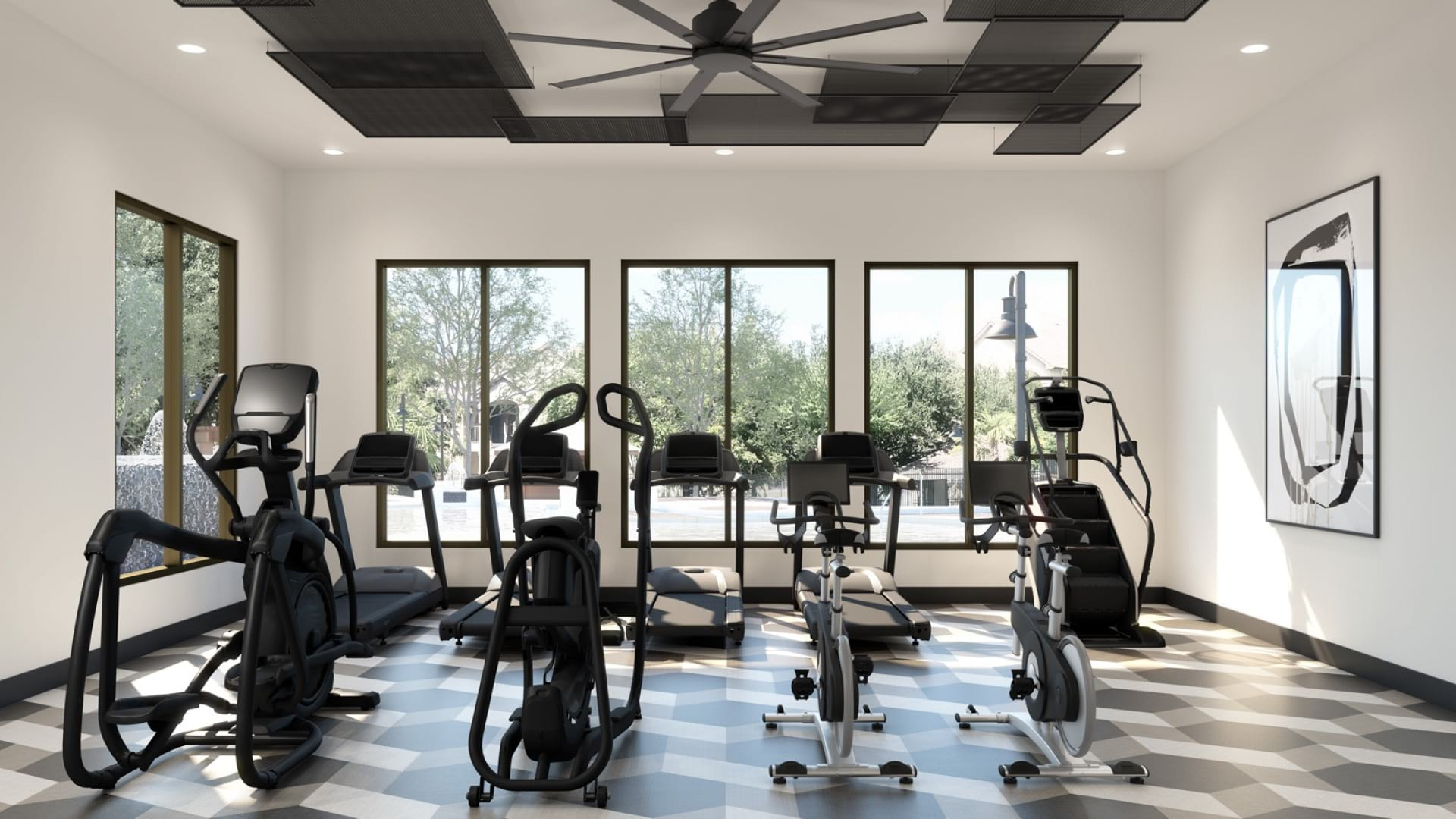 Brand new fitness center with cardio machines at our apartments at Bear Creek